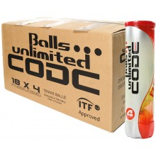 CARTÓN DE 18 TUBOS DE 4 PELOTAS BALLS UNLIMITED CODE RED