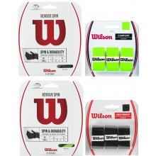 LOTE CORDAJE WILSON REVOLVE SPIN VERDE 1.30MM (12 METROS) + SOBREGRIPS WILSON PRO OVERGRIP SOFT NEGRO